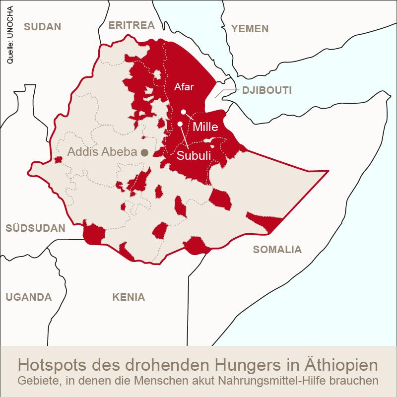 Dürregebiete in Äthiopien
