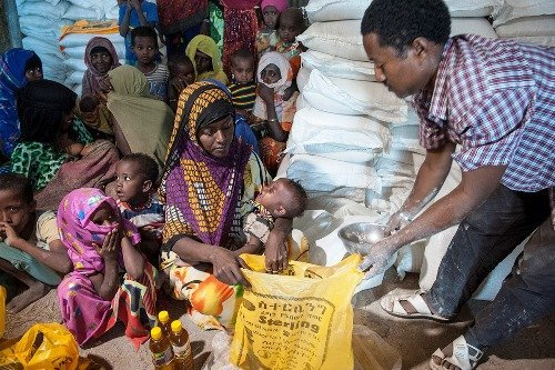 Malnourished children receive the supplementary food Famix