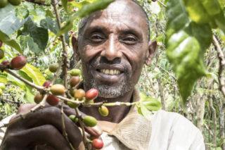 Fakten über Kaffee: Kaffeebauer mit Kaffeekirschen