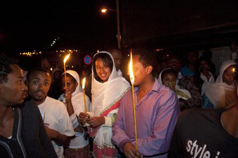 Meskel Fest in Äthiopien: Menschenansammlung