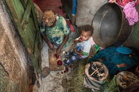 Social Distancing nicht möglich: Slumwohnung in Äthiopien