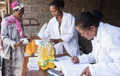Verteilung von Lebensmitteln in Äthiopien