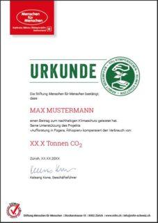 Vorschau Urkunde CO2-Kompensation