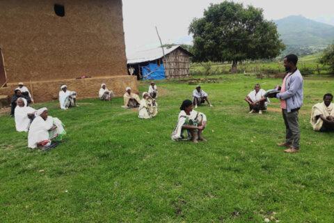 Bauern während der landwirtschaftlichen Schulung