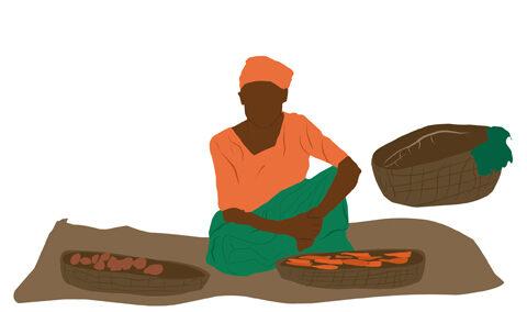 Illustration: Frau in der Selbsthilfegruppe
