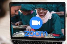 Notebook mit Zoom-Videocall aus Äthiopien