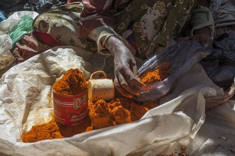 Berbere powder on a market