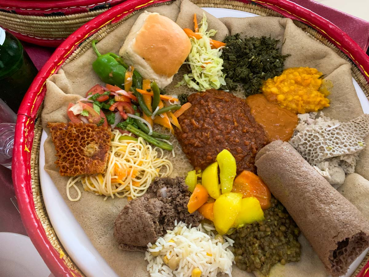 Ethiopian cuisine: A Plate with Injera